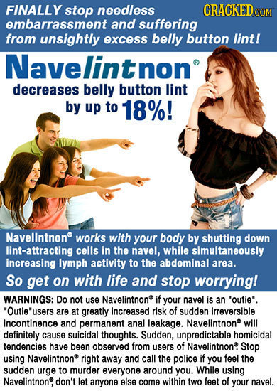 FINALLY stop needless CRACKED COM embarrassment and suffering from unsightly excess belly button lint! Navelintnon decreases belly button lint by up t