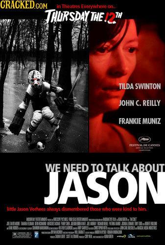 CRACKED in Theatres Everywhere on. THURSDAY THE. TILDA SWINTON JOHN C. REILLY FRANKIE MUNIZ FEATIVALDE CANNS WE NEED TO TALK ABOUT JASON little Jason