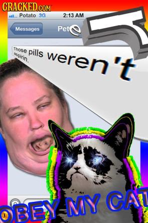 CRACKED COM Potato 3G 2:13 AM Messages Pete Those pills RSpirin weren't BEY IMY CAT
