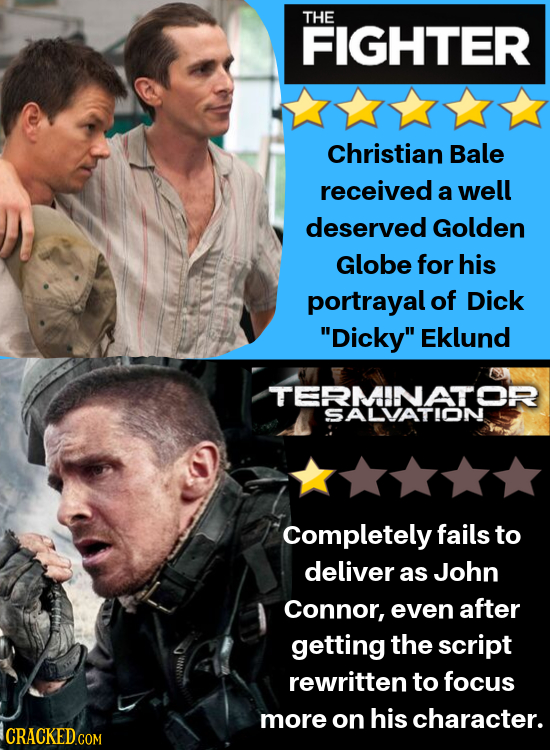 THE FIGHTER Christian Bale received a well deserved Golden Globe for his portrayal of Dick Dicky Eklund TERMINATOR SALVATION Completely fails to del