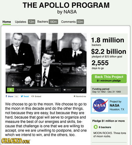 THE APOLLO PROGRAM by NASA Home Updates 12m Backers 180m Comments 5Om 1.8 million backers $2.2 billion pledged of $25 billion goal 555 days to go Back