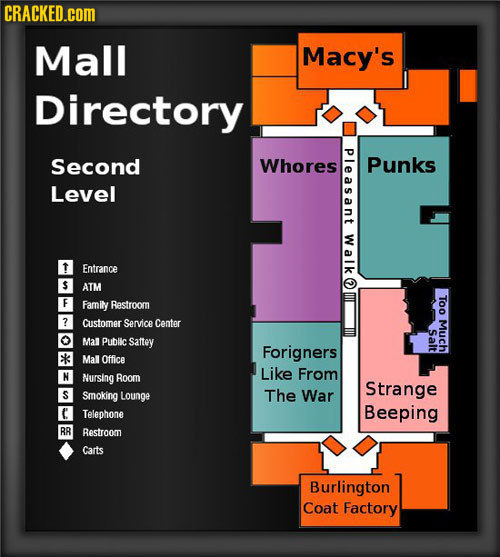CRACKED.cOM Mall Macy's Directory Ple Second Whores Punks Level Walk Entrance ATM Too Family Restroom ? Customer Service Center Much Salt Mal Public s
