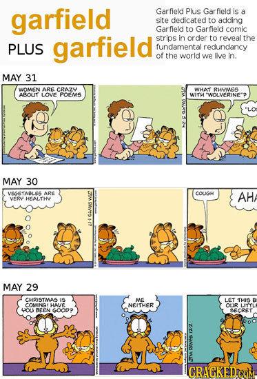 garfield Garfield Plus Garfield Is a site dedicated to adding Garfield to Garfield comic garfield strips in order to reveal the PLUS fundamental redun