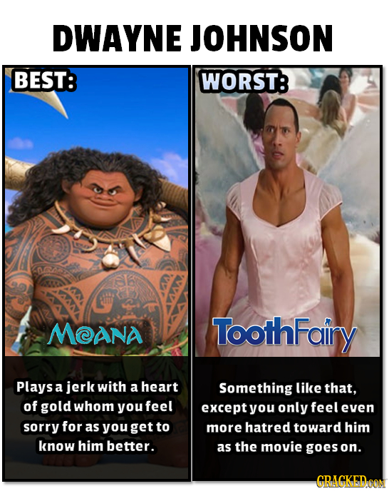 DWAYNE JOHNSON BEST: WORST: MANA ToothFairy Plays a jerk with a heart Something like that, of gold whom youfeel except you only feel even sorry for as