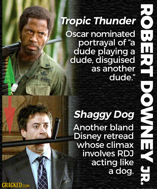 Tropic Thunder Oscar nominated portrayal of a dude playing a dude, disguised as another dude. ARMY Shaggy Dog Another bland Disney retread whose cli
