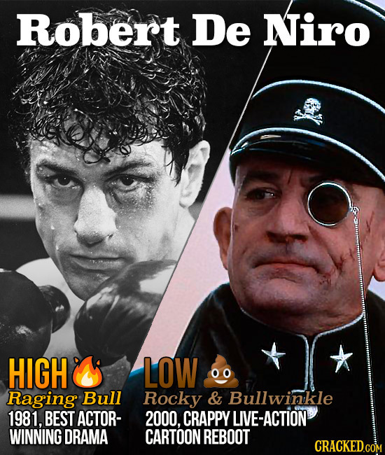 Robert De Niro HIGH LOW Raging Bull Rocky & Bullwinkle 1981, BEST ACTOR- 2000, CRAPPY IVE-ACTION WINNING DRAMA CARTOON REBOOT CRACKED.COM
