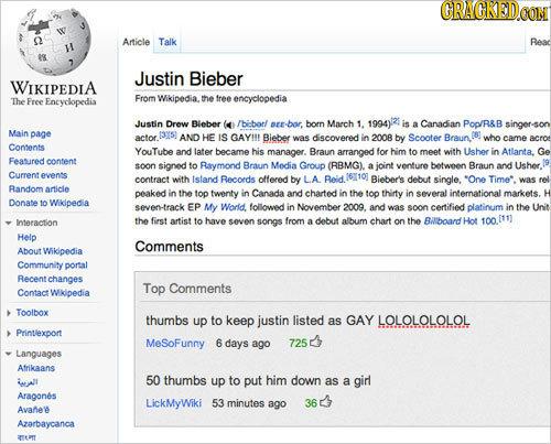 GRACKEDO Article Talk Reac M 89 Justin Bieber WIKIPEDIA From Wikipedia. The Free Encyclopedia the free encyclopedia Justin Drew Bieber (4 /bborl pEr-b
