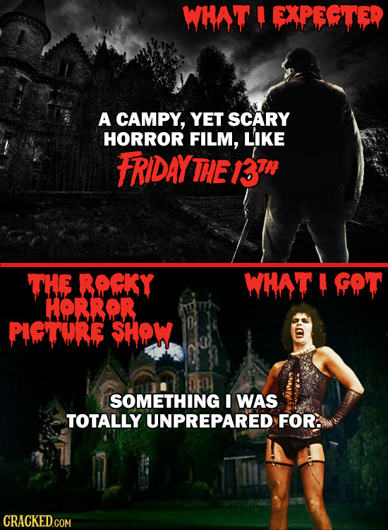 WHA'T EXPEITED A CAMPY, YET SCARY HORROR FILM, LIKE FRIDAY THE B3IR THE ROCKY WHAT GOT HORROR PIGTURE SHOW SOMETHING I WAS TOTALLY UNPREPARED FOR. CRA
