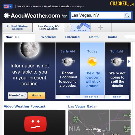 CRACKED.COM World: North America United States Nevada Las Vegas Accuweather.com for Las Vegas, NV FEATURED United States Las Vegas, NV WEATHER LOCAL W