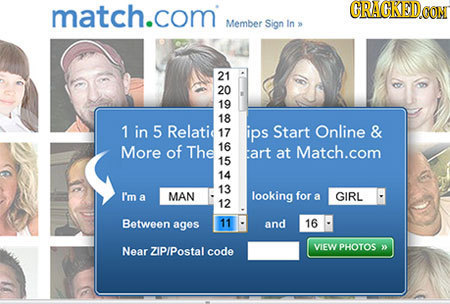 match.com CRACKED Member Sign In 21 20 19 18 1 in 5 Relatic 17 ips Start Online & More of The 16 tart at Match.com 15 14 13 I'm a MAN looking for a GI
