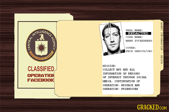 1 WNTELIGENCC RENL NAMR REDACTED AGENCY CODE NAME: D MARK ZUCKERAERG DA. COVER: IMTID TECH GENIUS/CEO MZUCK TES of am MISSION: CLASSIFIED COLLECT ANY