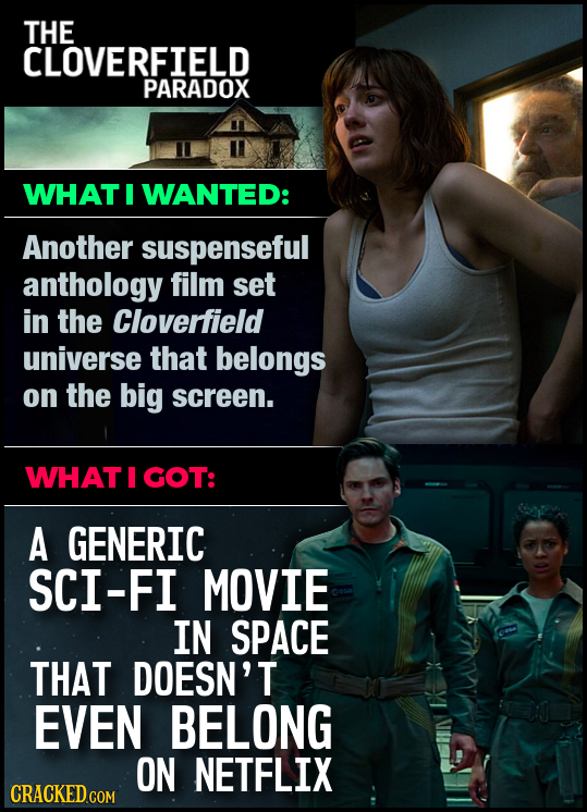 THE CLOVERFIELD PARADOX WHAT I WANTED: Another suspenseful anthology film set in the Cloverfield universe that belongs on the big screen. WHAT I GOT: