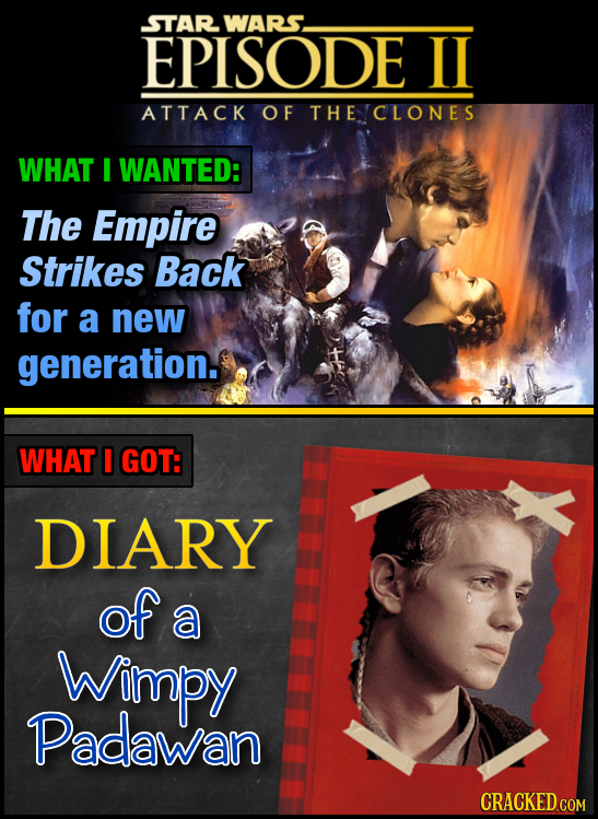 STAR WARS. EPISODE Il ATTACK OF THE CLONES WHAT I WANTED: The Empire Strikes Back for a new generation. WHAT I GOT: DLARY of a Wimpy Padawan CRACKED C