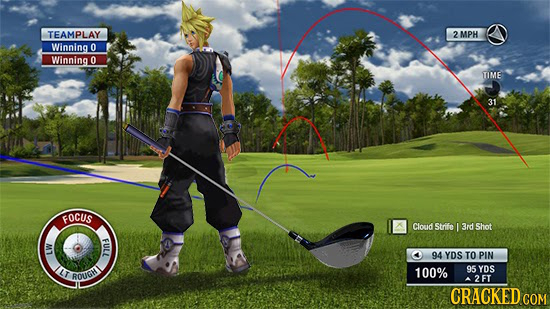 TEAMPLAY MPH Winning 0 Winning 0 TIME 31 FOCUS Cloud Strife I 3rd Shot FULL 94 YDS TO PIN LW 100% 95 YDS LHDNOY 2FT y CRACKED CON