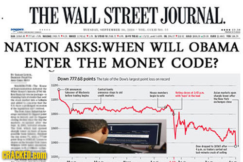 THE WALL STREET JOURNAL. A $ L NATION ASKS: WHEN WILL OBAMA ENTER THE MONEY CODE? Down 77768 points Tetale of tlee Dl Lagest oint loss on Fecond 11206