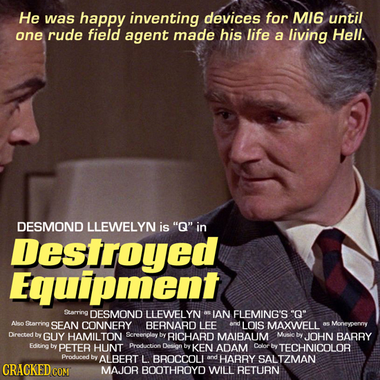 He was happy inventing devices for MI6 until one rude field agent made his life a living Hell. DESMOND LLEWELYN is Q in Destroyed Equipment Starring