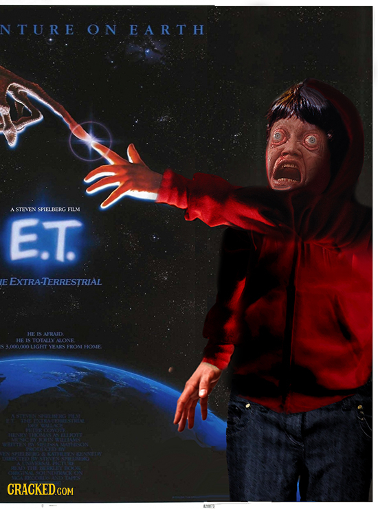 N TURE ON EARTH ASTEVEN SPIELBERG FILM E.T. E EXTRA-TERRESTRIAL HE IS AFRAID HE IS TOTALLY N.ONE 3000.000 LIGHT YEARS FROM HOME. A C 91A6 11N