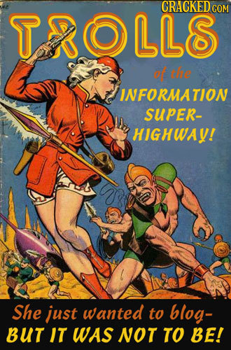 TROLLS of the INFORMATION SUpER- HIGHWAY! She just wanted to blog- BUT IT WAS NOT TO BE!