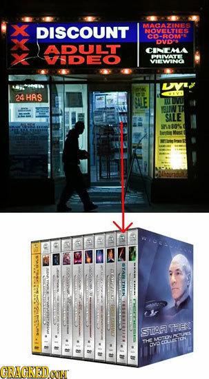DISCOUNT MACAZINES NOVELTIES COROMS DVD' ADULT CINEMA fDEo PRIVATE VIEWINO 24HRS SALE YEUWN SALE 5080% TAFETREK STAR TREK OTONPSTUS THE ECOLLECTON