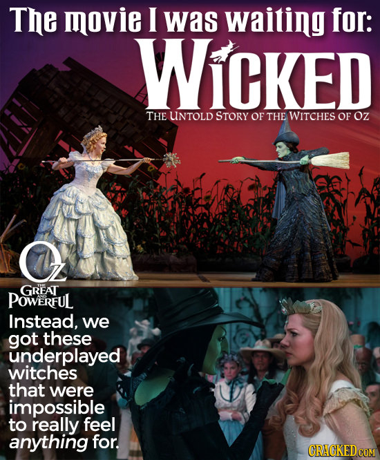 The movie I was waiting for: WiCKED THE UNTOLD STORY OF THE WITCHES OF Oz O GREAT POWERFUL Instead, we got these underplayed witches that were impossi