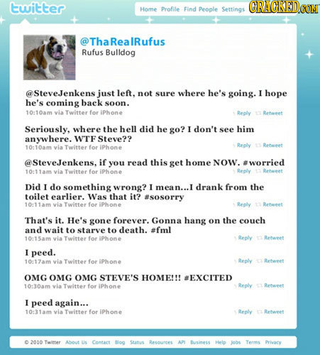 twitter Home Profile Find People Settings Tha RealRufus Rufus Bulldog @SteveJenkens just left, not sure where he's going. I hope he's coming back soon