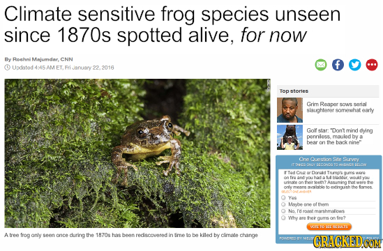 Climate sensitive frog species unseen since 1870s spotted alive, for now By Rorhni Majumdar, CNN Updated 4145AM ET. RrI anuary 22. 2016 Top stories Gr