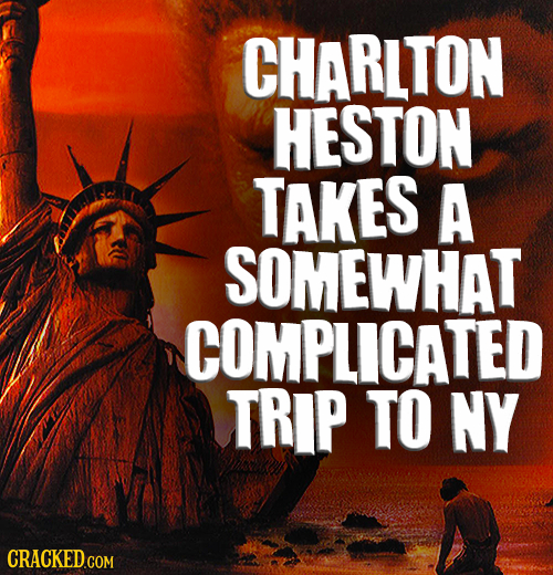 CHARLTON HESTON TAKES A SOMEWHAT COMPLICATED TRIP TO NY