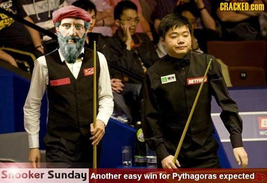 CRACKED.cOM wve BETFRI Snooker Sunday Another easy win for Pythagoras expected