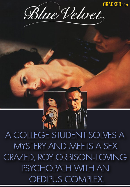 CRACKEDce Blue Velvet COM A COLLEGE STUDENT SOLVES A MYSTERY AND MEETS A SEX CRAZED, ROY ORBISON-LOVING PSYCHOPATH WITH AN OEDIPUS COMPLEX.