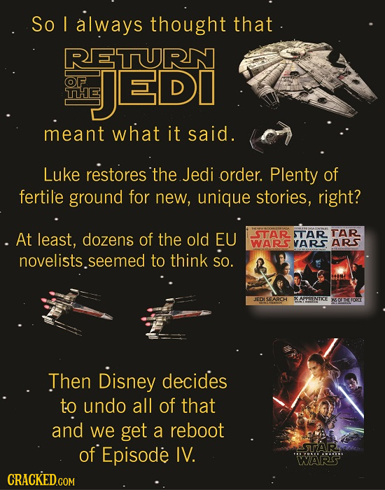 So I always thought that RETURN OF JEDI THE meant what it said. Luke restores tthe Jedi order. Plenty of fertile ground for new, unique stories, right