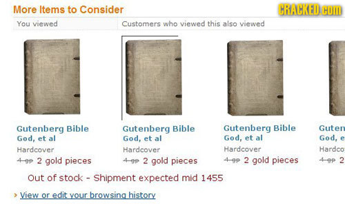 More ltems to Consider CRACKED. HOM You viewed Customers who viewed this also viewed Gutenberg Bible Gutenberg Bible Gutenberg Bible Guter God, et al