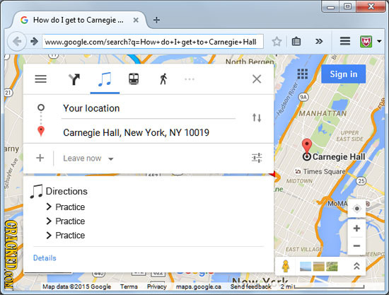 X G How do I get to Carnegie... x iww.googlecom/search?q:Howwdorlget+to+CamnegittHall North Rernen Sign in X 21 River 9A Your location MANHATTAN 11 hu