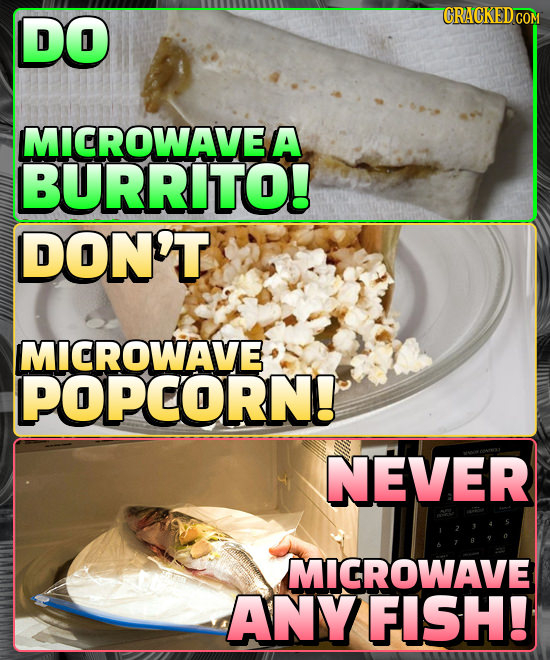 DO MICROWAVE/ A BURRITO! DON'T MICROWAVE POPCORN! NEVER MIGROWAVE ANY FISH!
