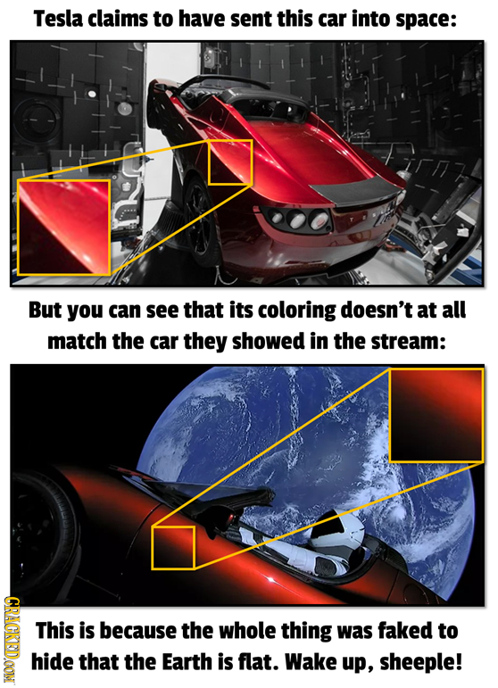 Tesla claims to have sent this car into space: But you can see that its coloring doesn't at all match the car they showed in the stream: 2 This is bec