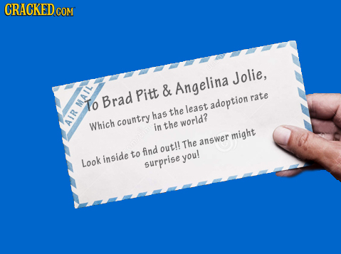 CRACKEDco Jolie, Angelina Pitt & rate M.AIL To Brad adoption the least has Which country in world? AIR the might The answer outll inside to find you!