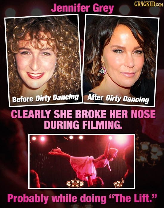 Jennifer Grey Before Dirty Dancing After Dirty Dancing CLEARLY SHE BROKE HER NOSE DURING FILMING. Probably while doing The Lift.