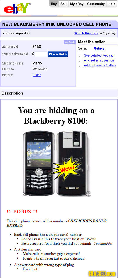 ehay Buy Sell My eBay Community Help NEW BLACKBERRY 8100 UNLOCKED CELL PHONE You are signed in Watch this item in My eBay Refresh Meet the seller Star