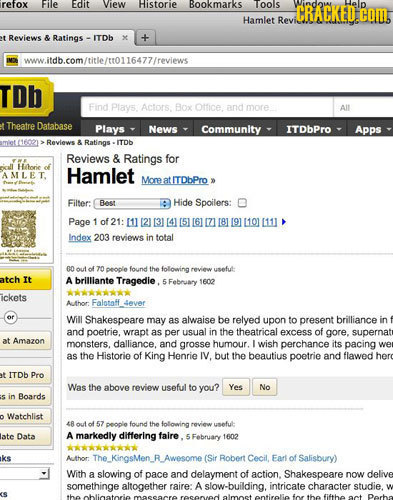 refox File Edit View Historie Bookmarks oos CRACKED COM, Hamlet Revi Reviews & Ratings ITOh www.itdb.com/title/n0116477/reviews TDb Find Plays. Actors