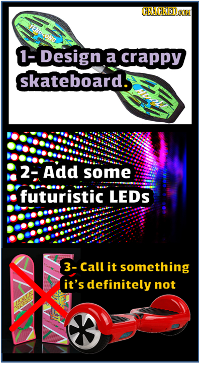 CRACKED eNCoNe 1-Design a crappy skateboard. 2-Add some futuristic LEDS 3-Call it something it's definitely not OLAS