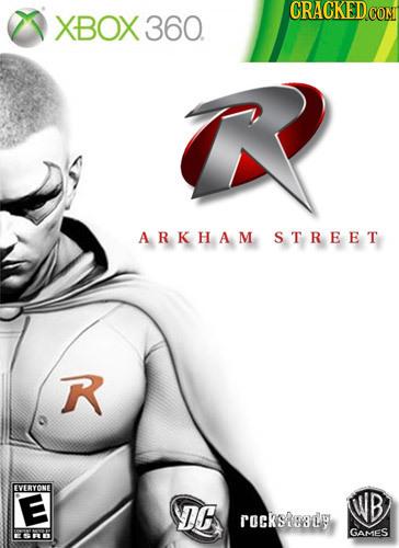 CRACKED XBOX CON 360. ARKHAM STREET R VERYONE E B DE rocksu3uy GAMES