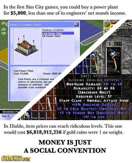 In the first Sim City games, you could buy a power plant for $5,000, less than one of its engineers' net month income. Select X a Power Plant Building