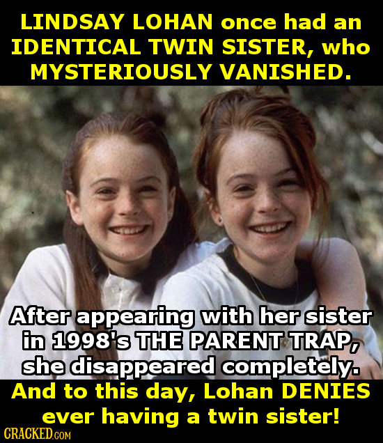 LINDSAY LOHAN once had an IDENTICAL TWIN SISTER, who MYSTERIOUSLY VANISHED. After appearing with her sister En 1998's THE PARENT TRAP, she disappeared