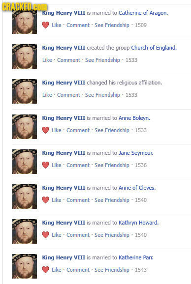 CRACKEDC King Henry VITI is married to Catherine of Aragon. Like Comment See Friendship 1509 King Henry VIII created the group Church of England. Like