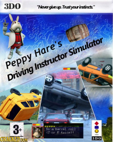 3DO Nevergiveup Tnst rinstincts Hare's Simulator Peppy 8 Instructor Driving 3 Pny T harrel roll (7 or R tatel GRACKEDCON 3DO