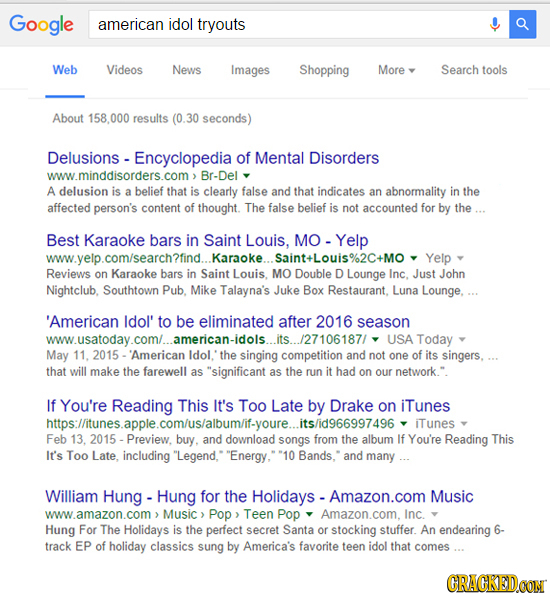 Google american idol tryouts Web Videos News Images Shopping More Search tools About 158,000 results (0 30 seconds) Delusions - - Encyclopedia d of Me