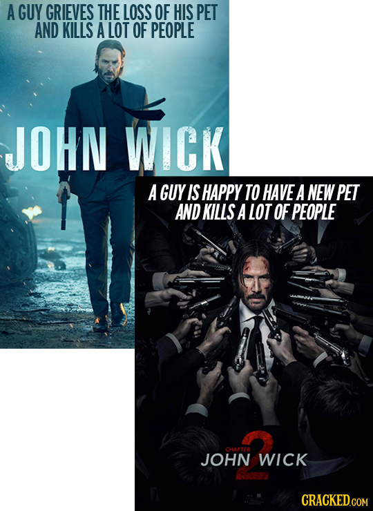 A GUY GRIEVES THE LOSS OF HIS PET AND KILLS A LOT OF PEOPLE JOHN WICK A GUY IS HAPPY TO HAVE A NEW PET AND KILLS A LOT OF PEOPLE CHAPTER JOHN WICK