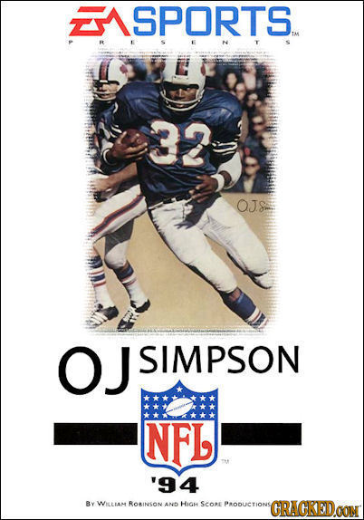 SPORTS TM 33 OJS OJ SIMPSON NFL '94 Ay WILlAM RORINSON AND HIGH SCoRE PoDucTione GRACKEDOON