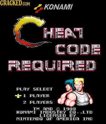CRACKED.COM KONAMI HLAE CODL RLCURIED PLAY SELECT 1 PLAYER 2 PLAYERS TM AND 1988 KONAMI INDUSTRY CO. LTD LICENSED BY NINTENDO OF AMERICA INC