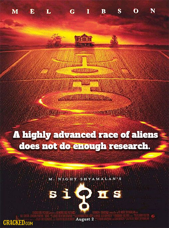 MELGIBSON A highly advanced race of aliens does not do enough research. M'. NIGHT ISHYAMALAN'S si s ENTSTE nr SIALKS HON 326 2 11-