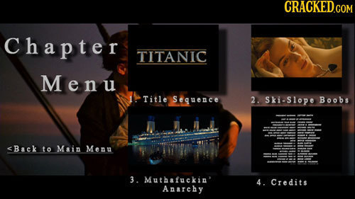 Chapter TITANIC Menu 1. Title Sequence 2. Ski-Slope Boobs <Back to Main Menu 3. Muthafuckin' 4. Credits Anarchy